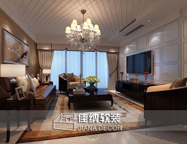 软装元素: 欧式风格软装修效果图常用大理石、多彩的织物、精美的地毯,精致的法国壁挂,为软装主要元素。通过复古造型款式的相互搭配,营造温馨、浪漫的家庭气氛。在家具装饰品的选购上,选择经典欧式元素的沙发,搭配唯美柔软的地毯,打上一盏柔和的水晶吊灯,展现了整个房屋的格调,同时也给整个家带来了浓厚的温暖气息。